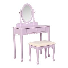 Linon Ellie Scalloped Youth Vanity Table & Stool 2-piece Set