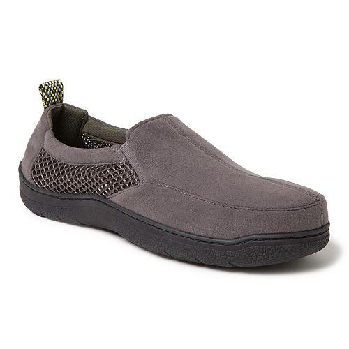 Men's Dearfoams Wide-Width Microsuede & Mesh Jungle Moccasin Slippers