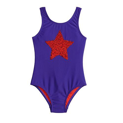 Girls 4-6x SO® Star Flip Sequins One-Piece Swimsuit