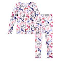 Toddler Girl Cuddl Duds Unicorn Top & Bottoms Baselayer Set