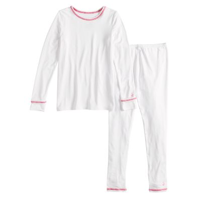 Toddler Girl Cuddl Duds White Top & Bottoms Baselayer Set