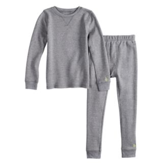 Toddler Boy Cuddl Duds Gray Thermal Top & Bottoms Set