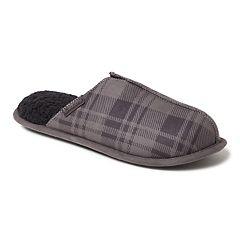 Men's Dearfoams Plaid Center Seam Scuff Slippers