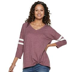 Juniors' SO® Varsity Striped Knot Front Tunic