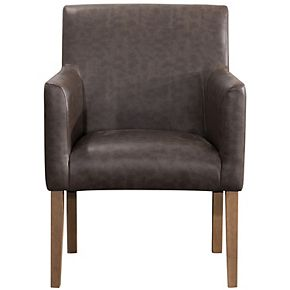 HomePop Lexington Brown Faux Leather Dining Chair