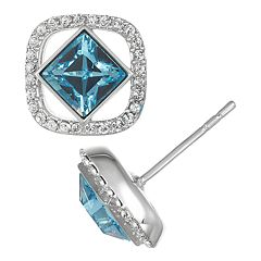 Brilliance Square Stud Earrings with Swarovski Crystals