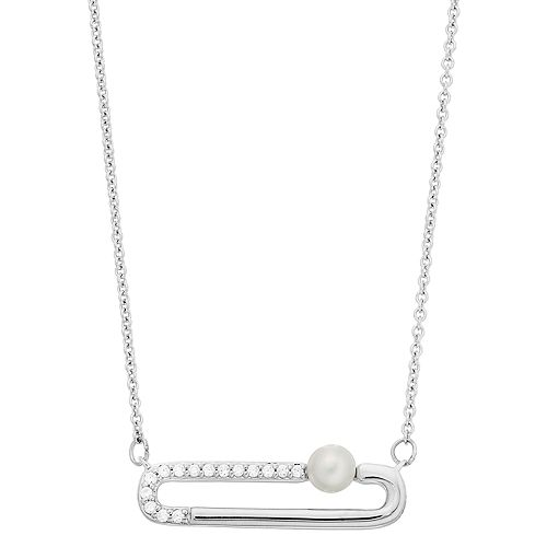 Simply Vera Vera Wang Sterling Silver Freshwater Cultured Pearl & 1/10 Carat T.W. Diamond Clip Necklace