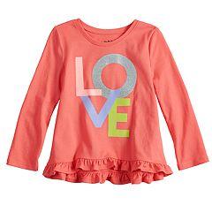 Toddler Girl Jumping Beans® Long-Sleeve Ruffled Graphic Tee