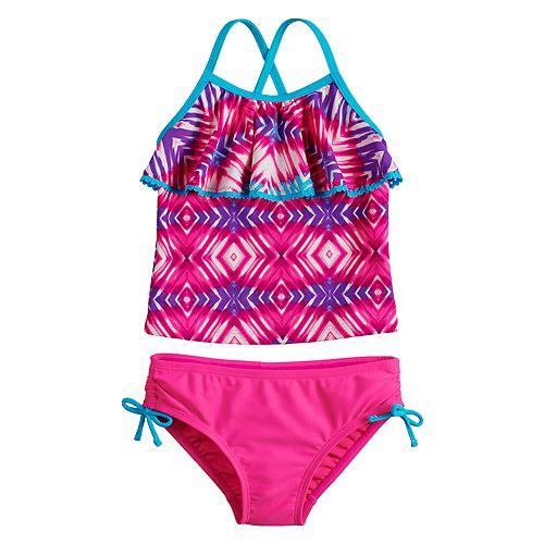 Girls 4-6x SO® Tie-Dye Flounce Tankini Top & Bottoms Swimsuit Set