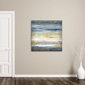 """New View Gold Abstract 35"""" x 35"""" Canvas Wall Art"""