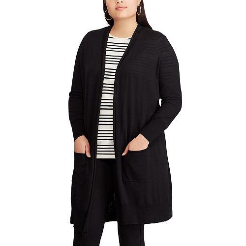 Plus Size Chaps Open Front Long Cardigan