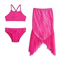 Girls 4-6x SO® Mermaid Shine Bikini Top, Bottoms & Mermaid Tail Swimsuit Set