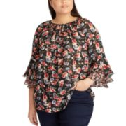Plus Size Chaps Ruffle Top