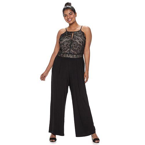 Juniors' Plus Size Lily Rose High Neck Lace Jumpsuit