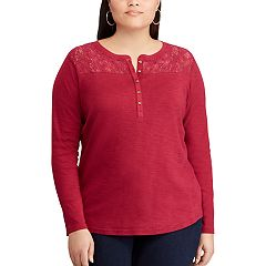 Plus Size Chaps Lace Henley Top