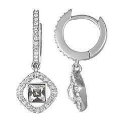 Brilliance Halo Hoop Drop Earrings with Swarovski Crystals