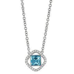 Brilliance Geometric Halo Pendant Necklace with Swarovski Crystals