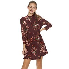 Juniors  Lily Rose Flower Swing Dress 030aaed3bcaa6
