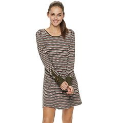 Juniors' Lily Rose Lace Up Sleeves Striped Dress