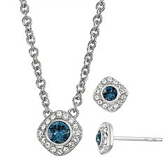 Brilliance Halo Necklace & Stud Earrings Set with Swarovski Crystals
