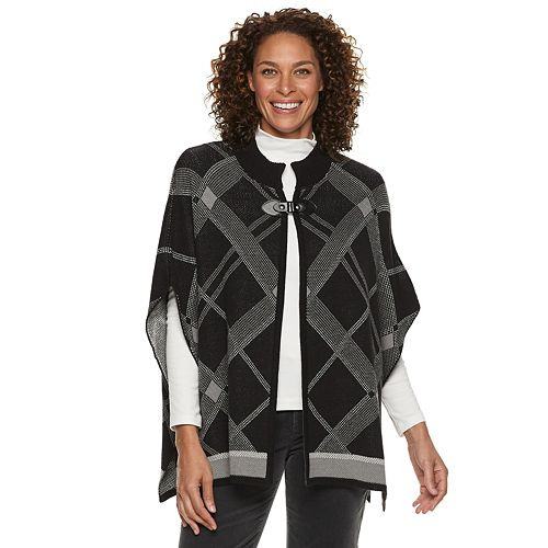 Women's Croft & Barrow® Buckle-Front Poncho