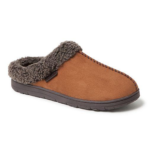 Men's Dearfoams Whipstitch Seam Microsuede Clog Wide-Width Slippers
