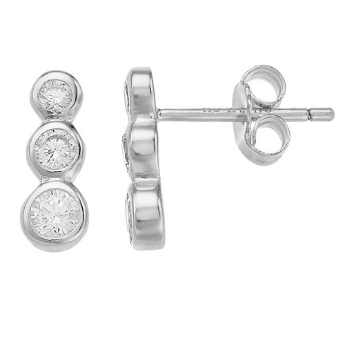 Always Radiant Sterling Silver Graduated Cubic Zirconia Stud Earrings