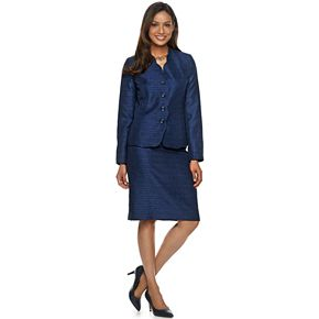 Women's Le Suit Textured & Scalloped Skirt Suit