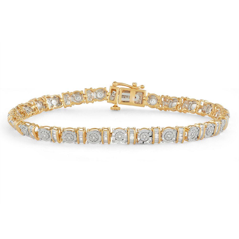 Gold Tone Sterling Silver 1/4 Carat T.W. Diamond Bracelet