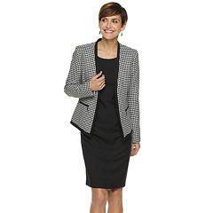 Women's Le Suit Houndstooth Flyaway Jacket & Sheath Dress Set
