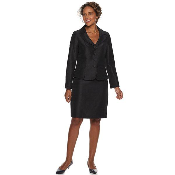 Women's Le Suit Notch Collar Shiny Jacket & Skirt Suit