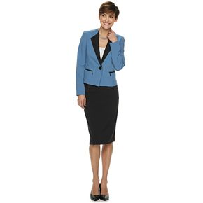 Women's Le Suit 1-Button Crepe Skirt Suit