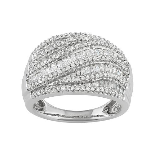 Sterling Silver 1 Carat T.W. Diamond Swirl Dome Ring