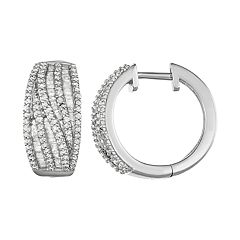 Sterling Silver 1 Carat T. W. Diamond Hinged Hoop Earrings