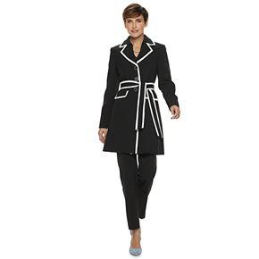 Women's Le Suit Colorblock Trench Coat & Pant Set