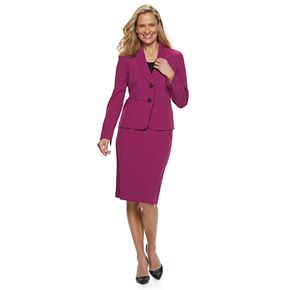 Women's Le Suit Shawl Collar Crepe Skirt Suit