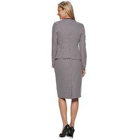 Women's Le Suit Open Front Crosshatch Skirt Suit