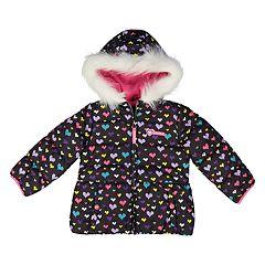 Baby Girl Skechers Heart Print Heavyweight Puffer Jacket
