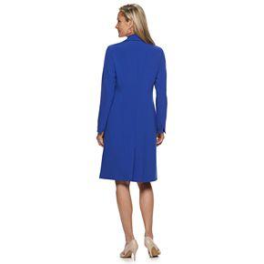 Women's Le Suit Notch Collar Shiny Jacket & Sheath Dress Set