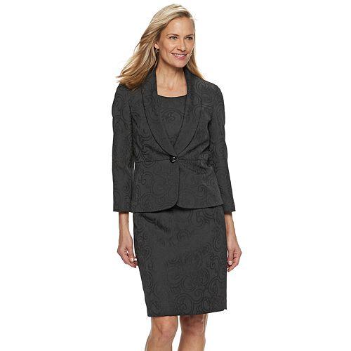 Women's Le Suit Shawl Collar Jacquard Dress Suit