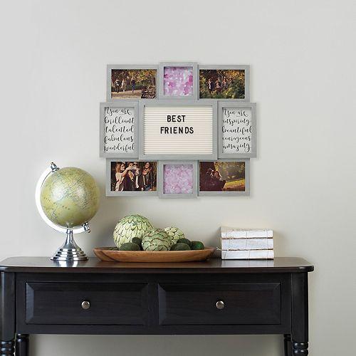 Melannco 8-Opening Gray Collage Frame & Letter Board