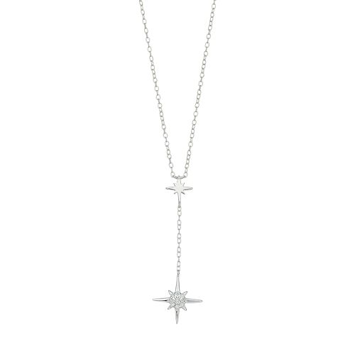 Always Radiant Sterling Silver Cubic Zirconia Starburst Y Necklace