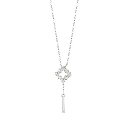 Always Radiant Sterling Silver Cubic Zirconia Square Y Necklace