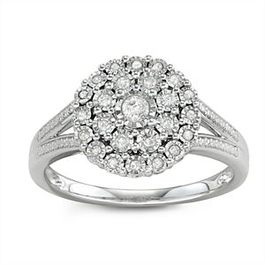 Sterling Silver 1/4 Carat T. W. Diamond Ring
