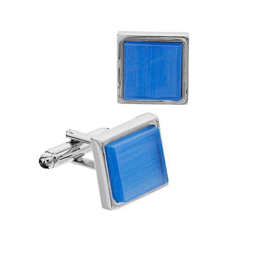 Men's Apt. 9® Silver Edge Blue Center Square Cuff Links