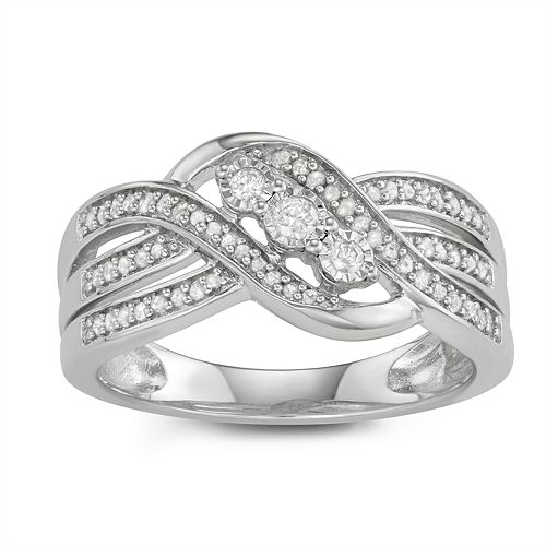 Sterling Silver 1/4 Carat T. W. 3-stone Diamond Ring