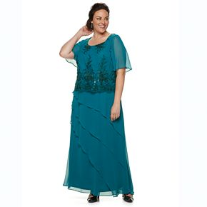 Plus Size Le Bos Embroidered Sequin Dress