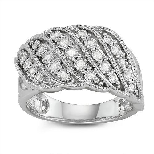 Sterling Silver Swirl 1/4 Carat T.W. Diamond Ring