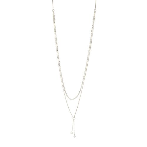 Always Radiant Sterling Silver Double Strand Double Drop Necklace