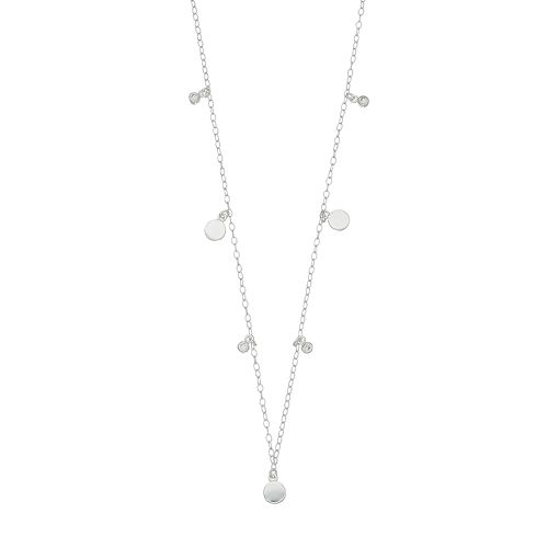 Always Radiant Sterling Silver Cubic Zirconia Disc Necklace